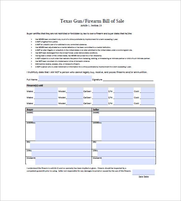 texas gun bill of sale free texas gun firearm bill - Businessresults.co