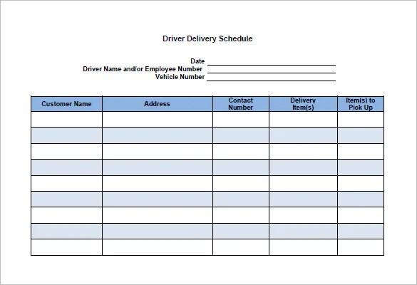 15 Delivery Schedule Templates PDF DOCXls Free