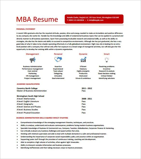 cool mba resume template