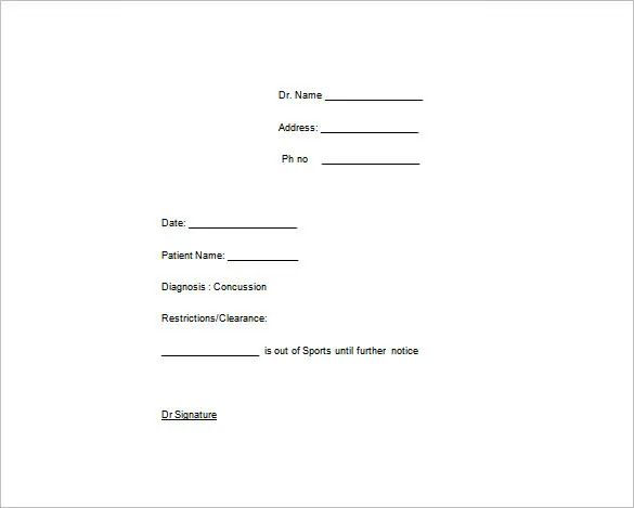 doctors medical note template