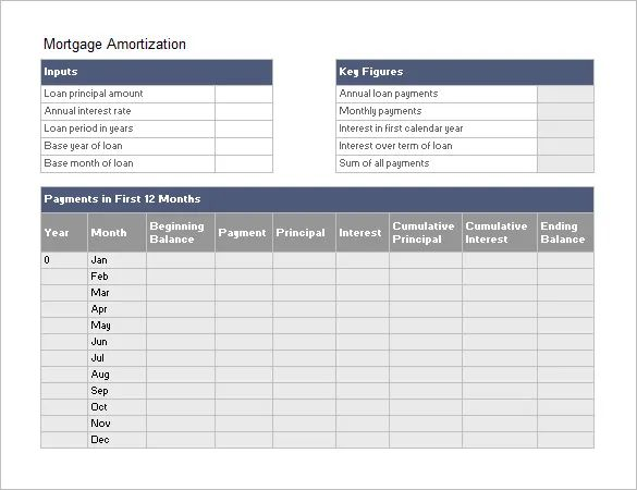 excel mortgage amortization schedule
