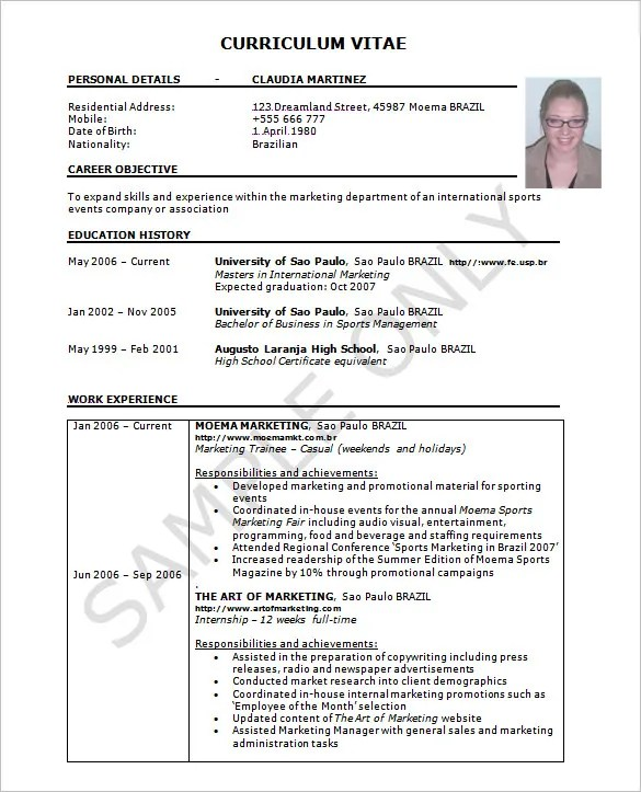 Resume Template - 42+ Free Word, Excel, PDF, PSD Format Download ...