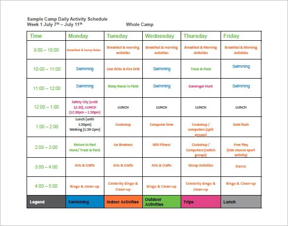 9 Camp Schedule Templates DOC PDF Free & Premium