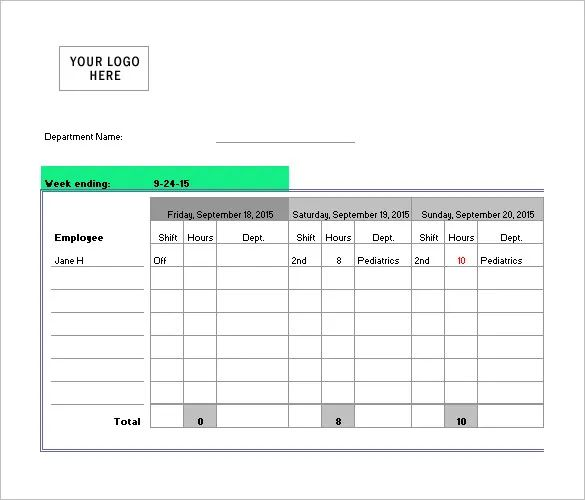nurse schedule example