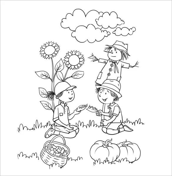 Autumn Kids Coloring Pdf