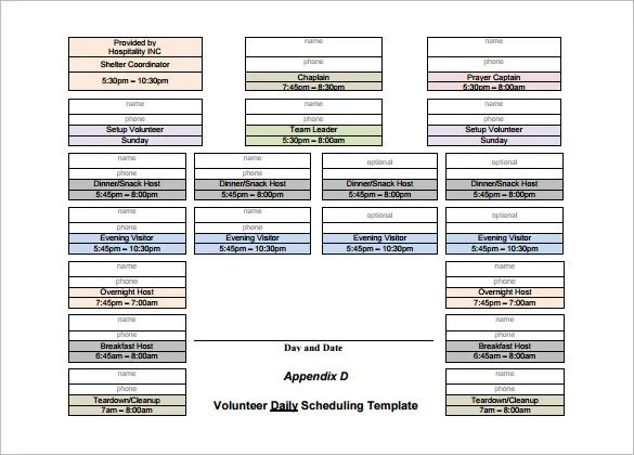 shift scheduling template