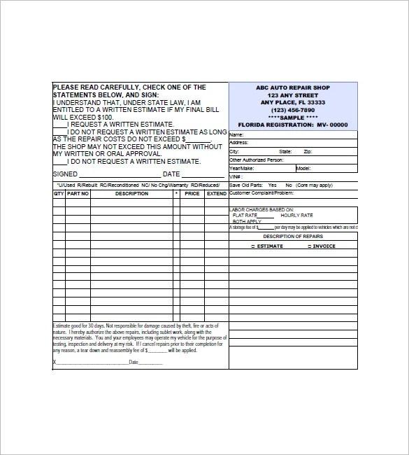 Vehicle Invoice Template Plainresume Co