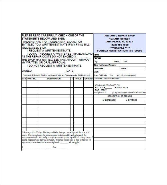 automotive repair invoice template excel