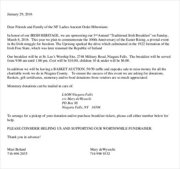 monetary donation letter template