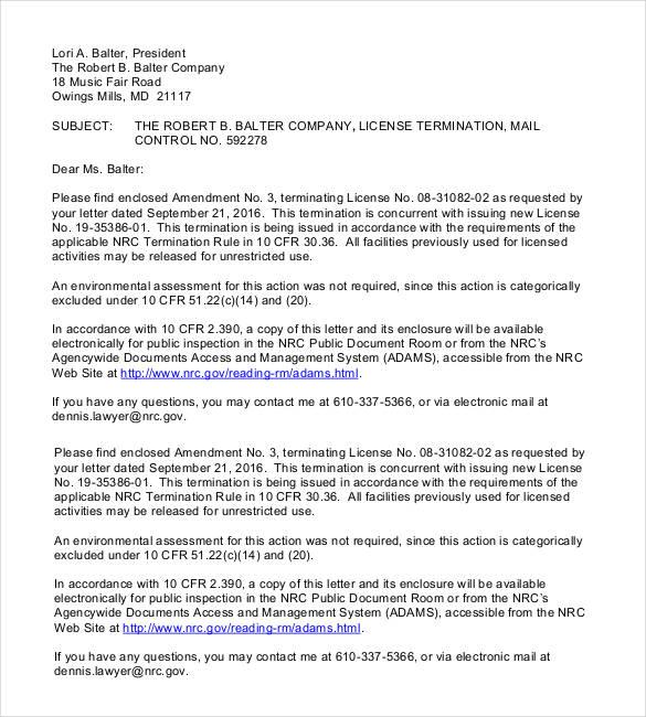 23+ Free Termination Letter Templates - PDF, DOC | Free & Premium ...