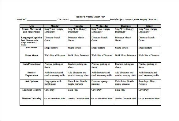 weekly lesson plan template one subject