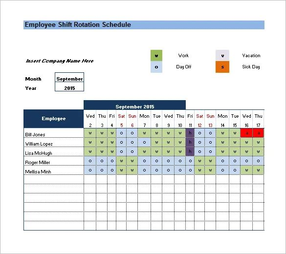 rotating shift work schedule template