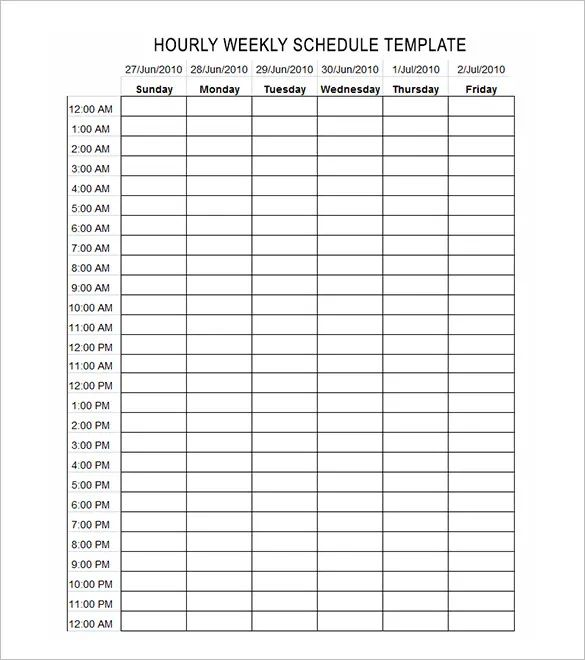24 hour daily schedule template