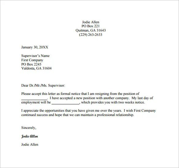 12 Formal Resignation Letter Template  Free Word Excel PDF Format Download  Free  Premium