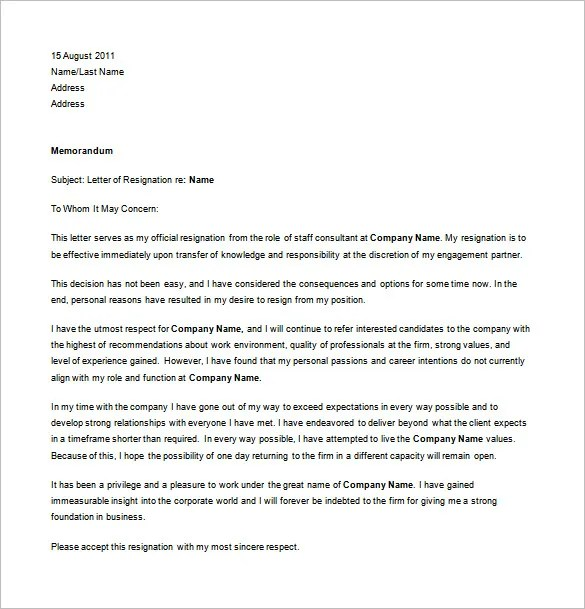 Professional Resignation Letter Templates 12 Free Word