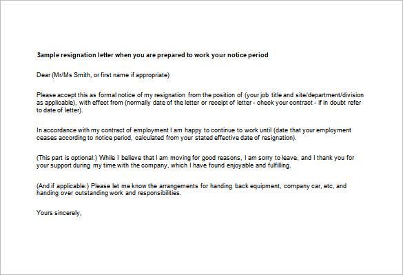 free sample resignation letters