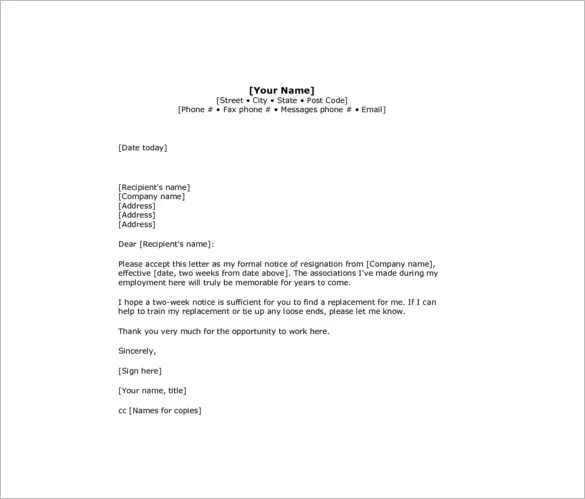 How To Write Resignation Letter 2 Weeks Notice - Cover Letter ...