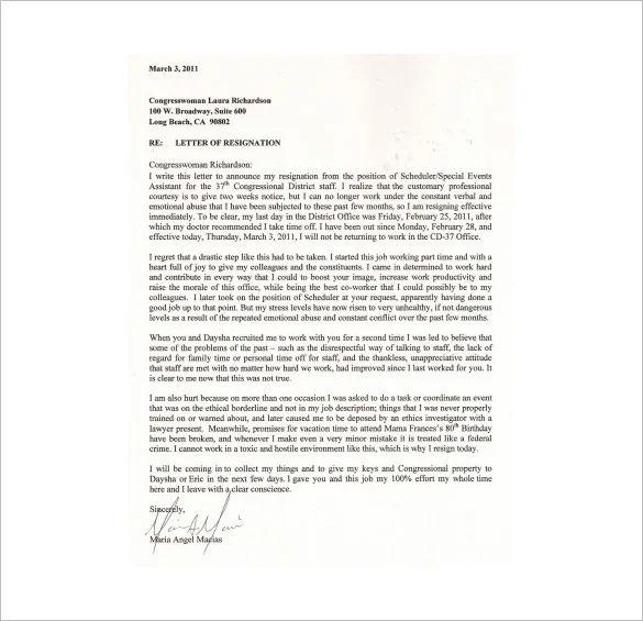 immediate resignation letter pdf