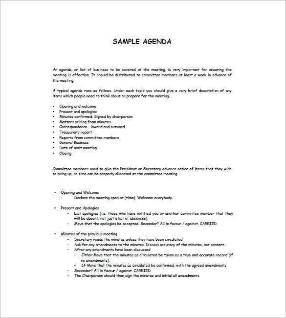 ... Agenda Outline Template   Agenda Layout Examples ...  Examples Of Agenda Templates