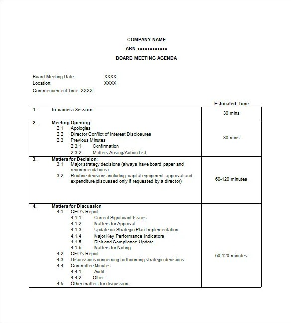 Meetings will run more smoothly, efficiently, and productively with a meticulously crafted meeting agenda. Simple Agenda Template 8 Free Word Excel Pdf Format Download Free Premium Templates