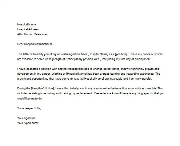 Sample Rn Resignation Letter