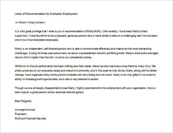 15+ Letters Of Recommendation For Graduate School