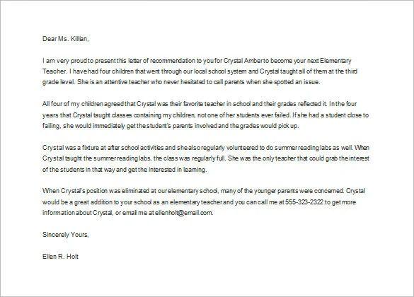 letter of recommendation for student teacher elementary