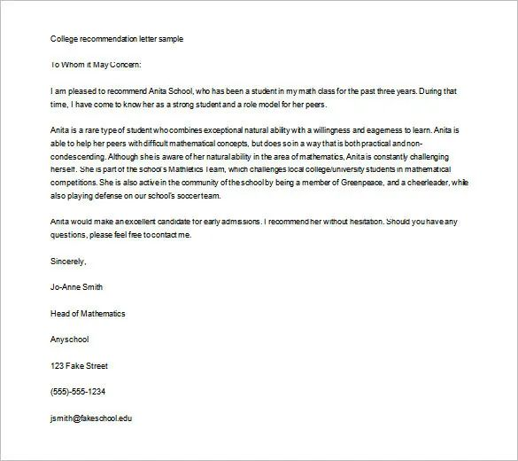 recommendation letter for high school student going to college