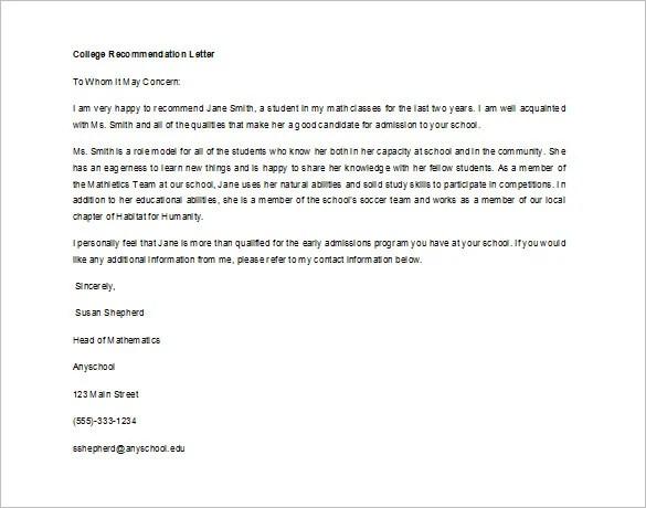 recommendation letter for internship student