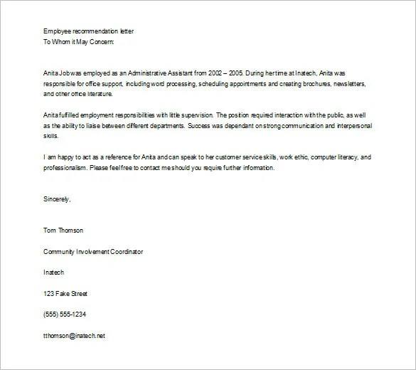 Letters Recommendation Examples Jobs