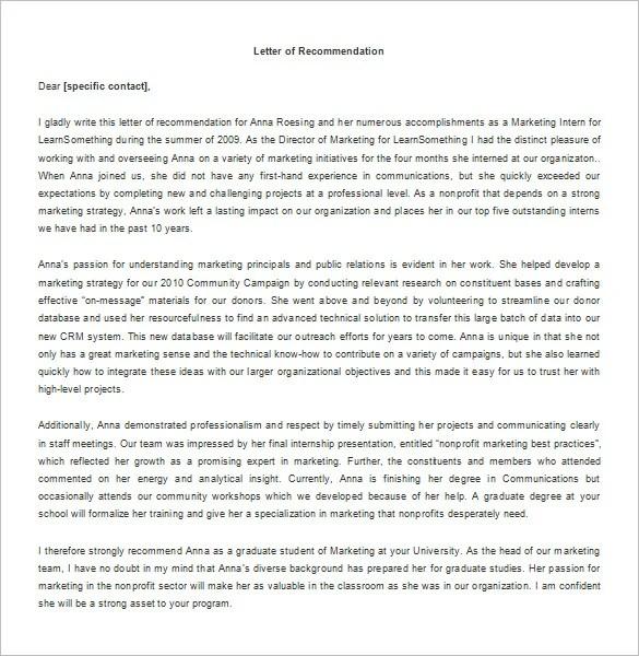 Recommendation Letter Sample For Student Internship