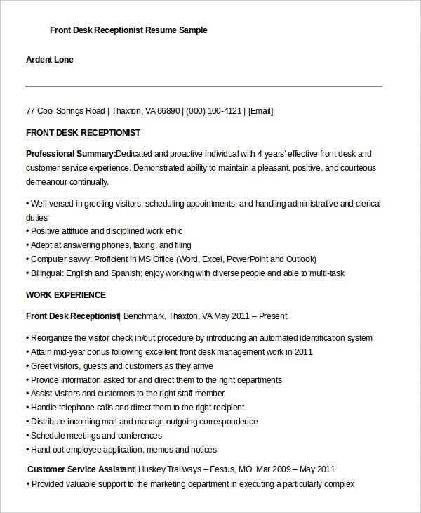 10 Receptionist Resume Templates PDF DOC Free