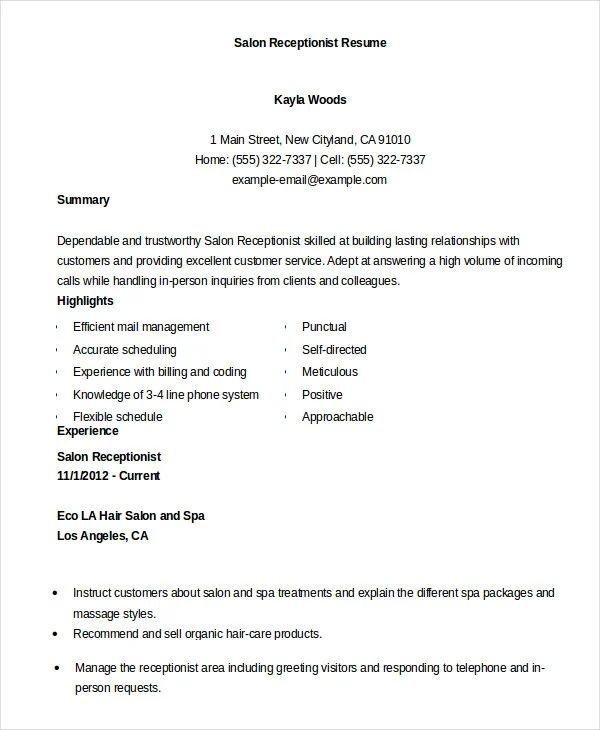 receptionist resume references