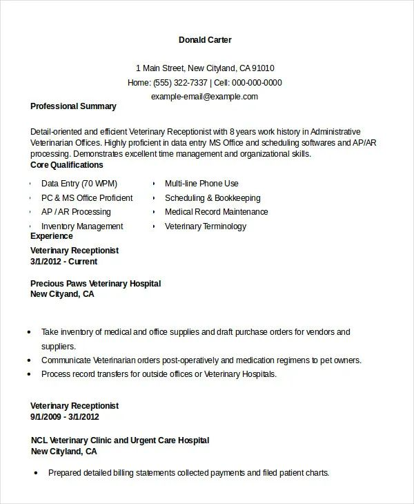 sample resume format for receptionist