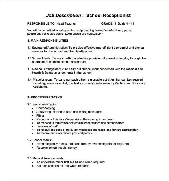 13 Receptionist Job Description Templates Free Sample
