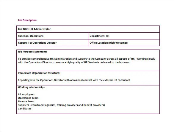 Human Resource Job Description Template – 9+ Free Word, PDF Format ...