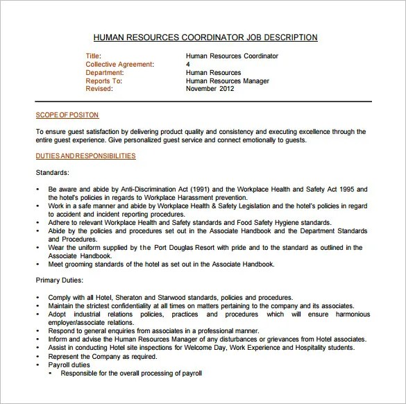 Job Description Sample Of Human Resource Manager   Work Experience