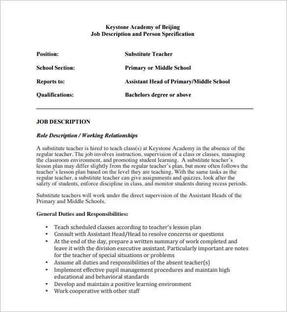 7 Substitute Teacher Job Description Templates  Free Sample Example Format Download  Free