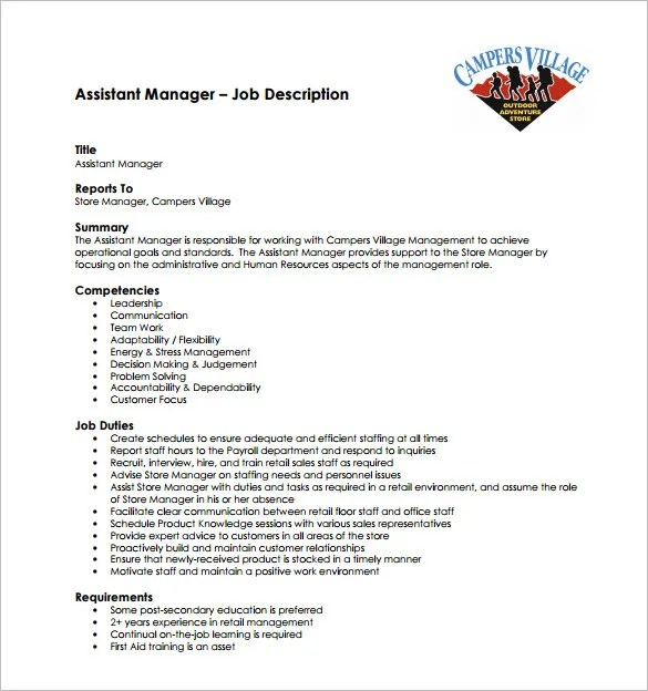 11 Store Manager Job Description Templates – Free Sample