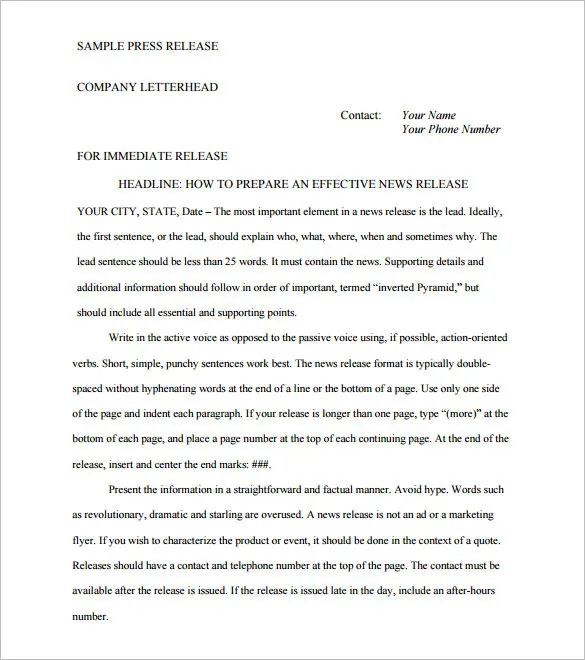 sample press releases format
