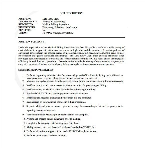 Data Entry Job Description Template – 9 Free Word PDF