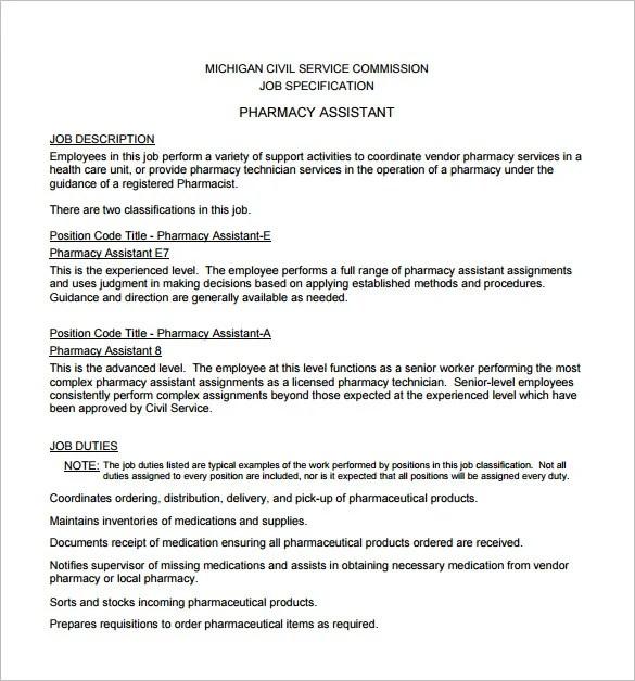 9 Pharmacist Job Description Templates – Free Sample Example