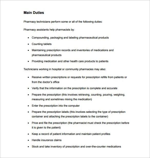 Pharmacy Technician Job Description Template 7 Free