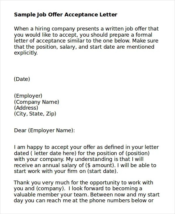 job acceptance template