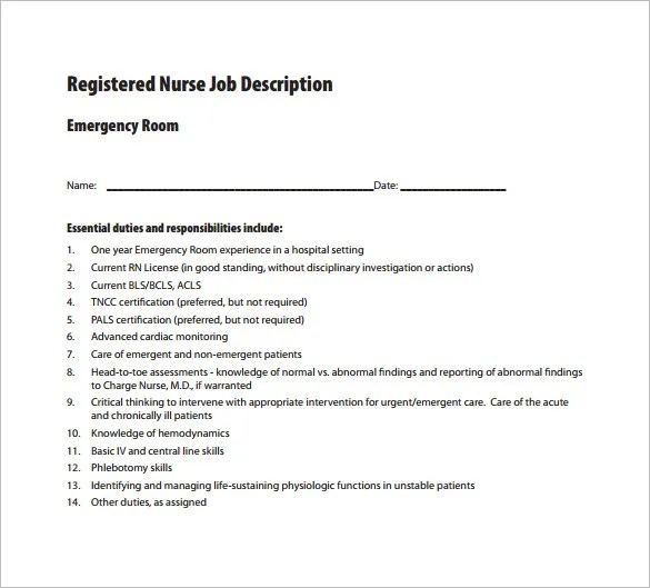 10 Registered Nurse Job Description Templates  Free