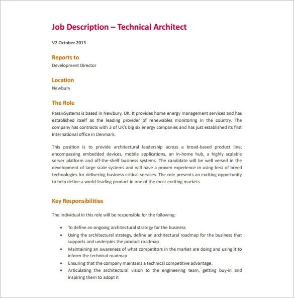 9 Architect Job Description Templates Free Sample