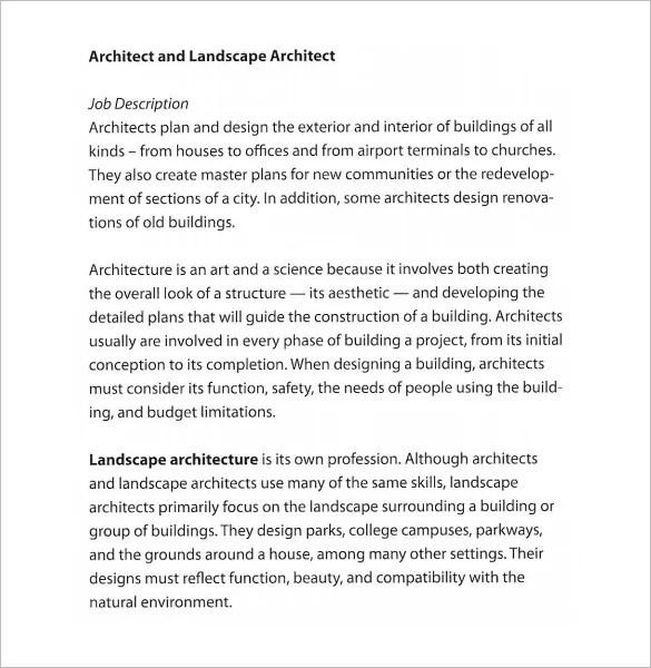 architect job description template