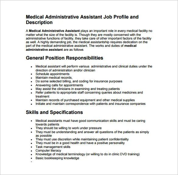 duties and responsibilities of medical assistant