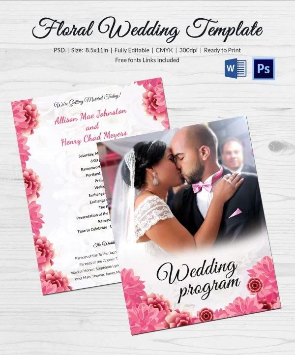 free downloadable wedding program templates