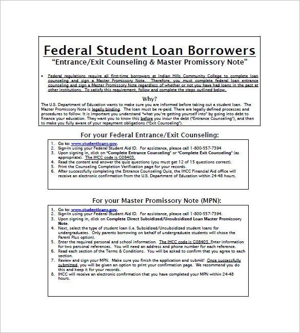 10 Student Loan Promissory Note Templates Free Sample Example Format Download Free